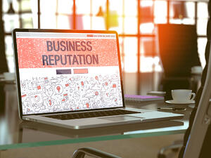 Business Reputation Concept Closeup on Landing Page of Laptop Screen in Modern Office Workplace. Toned Image with Selective Focus. 3D Render.