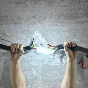 Cable in human hand. Power and connection