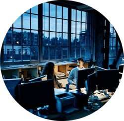 Employees working at night