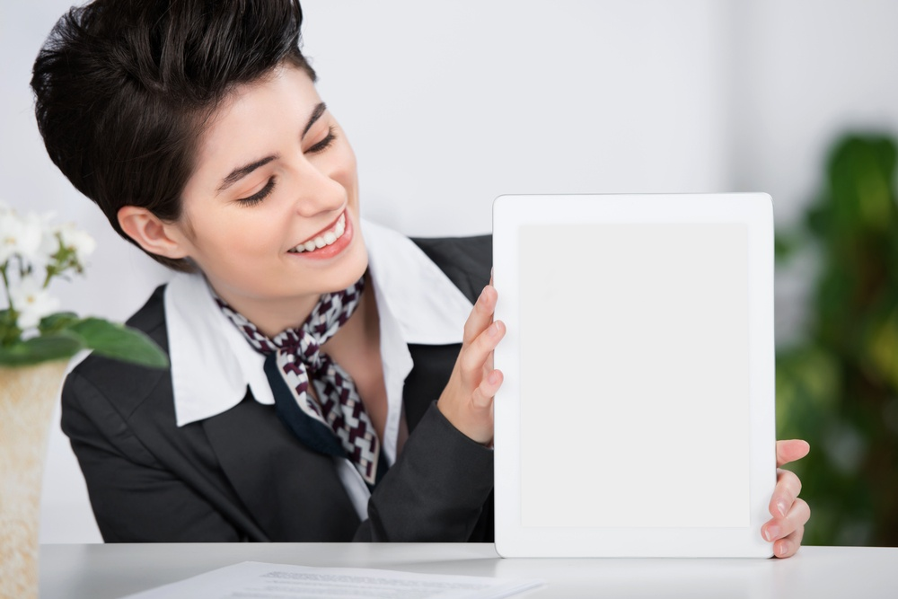 Concierge with a tablet